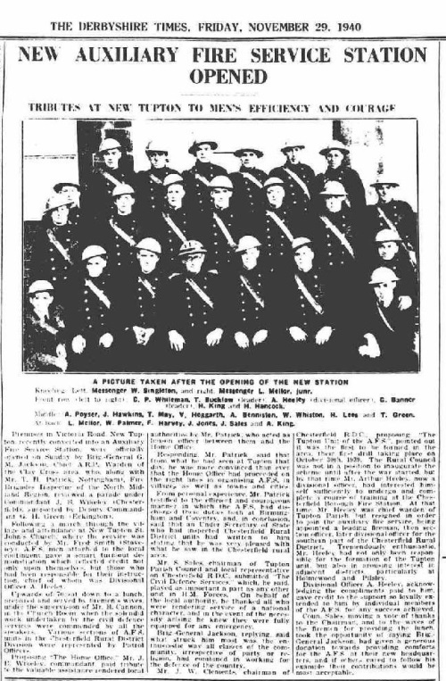 1940 Derbyshire Times - Fire Station Opening